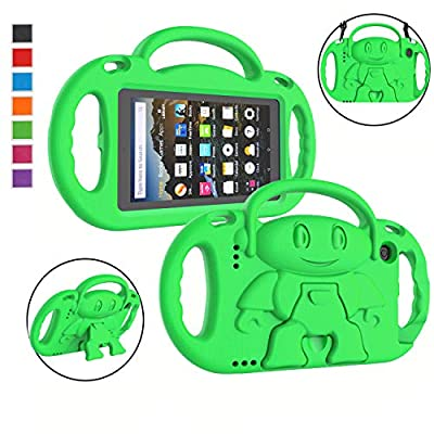 "LTROP Kids Case for All-New Kindle Fire 7 Tablet (9th Generation - 2019 Release) - Shockproof Handle Friendly Kids Stand Case with Shoulder Strap for Amazon Fire 7 2019 & 2017 (7"" Display), Green"