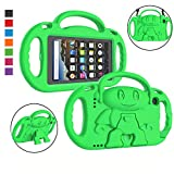 LTROP Kids Case for All-New Kindle Fire 7 Tablet (9th Generation - 2019 Release) - Shockproof Handle Friendly Kids Stand Case with Shoulder Strap for Amazon Fire 7 2019 & 2017 (7' Display), Green