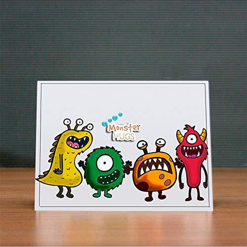 Niedliche Happy Monsters Geburtstags-Stempel und Stanzschablonen-Set für Kartengestaltung, Scrapbooking, Partyzeit, transparente Gummistempel und Stanzformen (T1593)