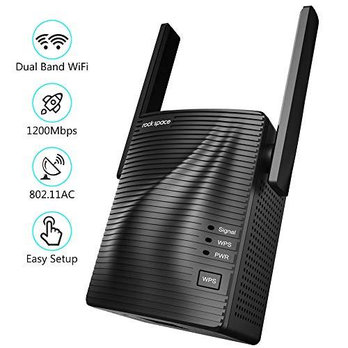 rockspace Répéteur WiFi – Amplificateur WiFi sans Fil 1200Mbps, Booster WiFi Double Bande 5G et 2.4G avec 1 Port Ethernet, Mode Point d'Acces et WPS – WiFi Extender pour Maison de 120 ㎡