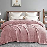 Exclusivo Mezcla Queen Size Jacquard Weave Wave Pattern Flannel Fleece Velvet Plush Bed Blanket as Bedspread/Coverlet/Bed Cover(90' x 90', Pink) - Soft, Lightweight, Warm and Cozy