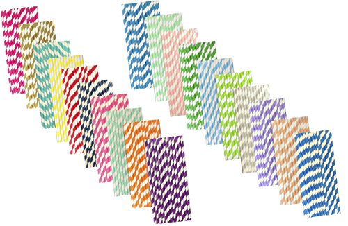 Bulk Rainbow Variety Pack of Striped Straws - 7.75 inches - 500 Total in 20 Colors - Outside The Box Papers Brand