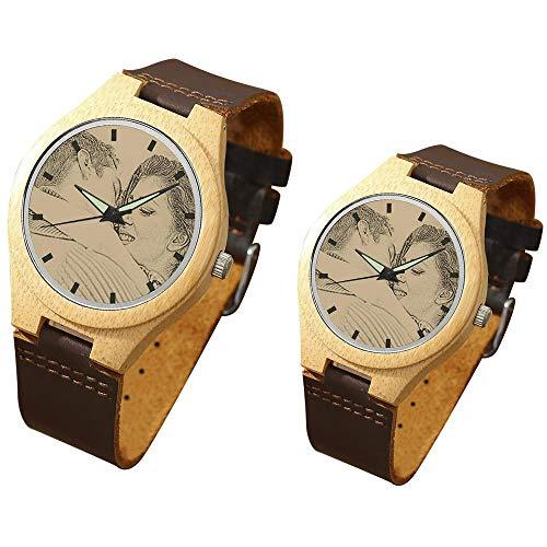 Reloj de Pulsera para Parejas Reloj Personalizado con Foto y Grabado de Cuarzo Analógico Relojes para el Día de la Madre (1 par) (38mm, Marron Oscuro)