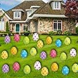 VictoryStore Jumbo Easter Egg Yard Decorations, 9.6 Inches by 12 Inches, Set of 24, 2 Sided Colorful Spotted Eggs, Includes Stakes, 19224