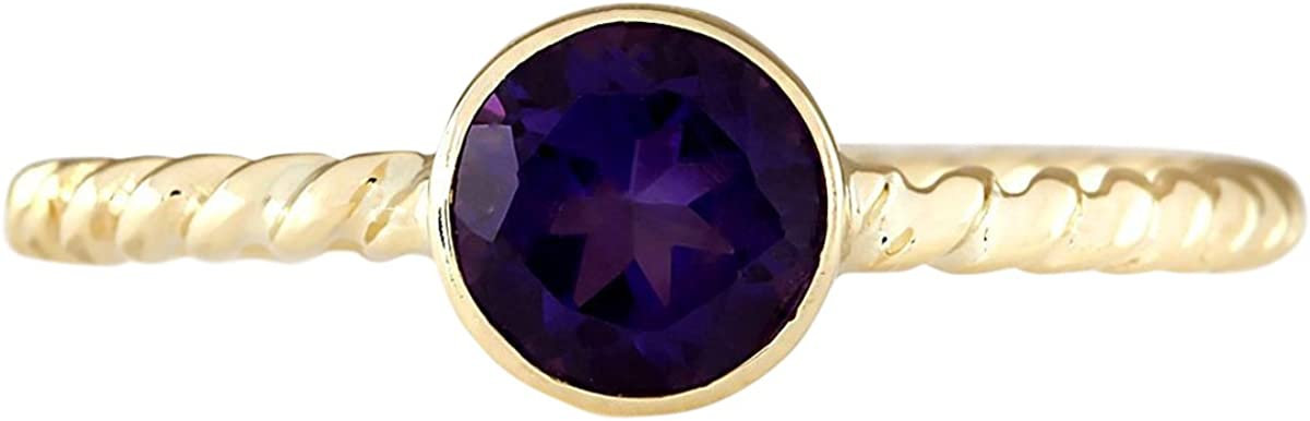 1 Carat Natural Violet Amethyst 14K Yellow Gold Solitaire Promise Ring for Women Exclusively Handcrafted in USA