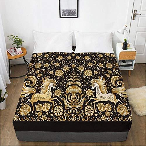 OQQE Diseño 3D Sábana Ajustable Colchón de Cama Funda Ajustable Diseño Personalizado Sábanas Sábanas Sábana 160x200cm Glod Black Home Texitle