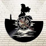 WERWN Reloj de Pared de Sirena de Dibujos Animados, decoración del hogar, Reloj mágico de océano para niña, Regalo de Vinilo