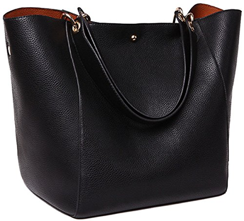 SQLP Work Tote Bags for Women's Leather Purse and handbags ladies Waterproof Shoulder commuter Bag Black