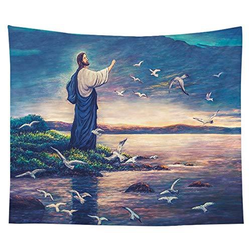 Tela para colgar, tela de fondo, tapiz de Jesús cristiano, cabecera, decoración del dormitorio, tela de fondo, tela a9 150x200cm