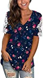 Women's Lace Short Sleeve V Neck Print T-Shirts Loose Casual Summer Floral Tee Tops Navy XXL