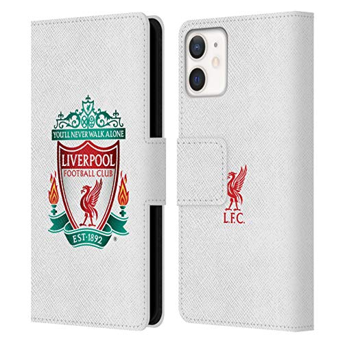 Official Liverpool Football Club White 1 Crest 1 PU Leather Book Wallet Case Cover Compatible For Apple iPhone 12 Mini