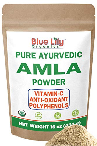 Blue Lily Organics Amla (Amalaki/Indian Gooseberry) Fruit Powder. 1 lb (16 oz)-100% Pure, Organic. Antioxidant, Natural Vitamin C Powerhouse. Digestion,...
