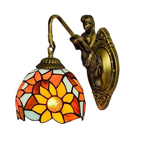 PEJGD Lampada da parete fiore solare Lampada da parete pastorale americana Lampada da parete in stile tiffany creativo Lampada da parete a sirena in vetro a testa singola Soggiorno Lampada da parete c