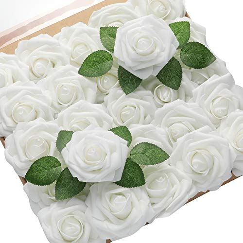 DerBlue 60pcs White Artificial Roses Flowers Real Looking Fake Roses Artificial Foam Roses Decoration DIY for Wedding Bouquets Centerpieces,Arrangements Party Home Decorations