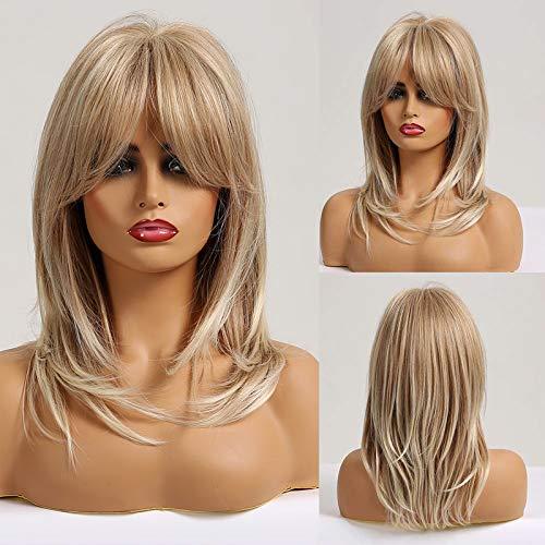 HAIRCUBE Pelucas rubias largas y rizadas Pelucas sintéticas hasta los hombros para mujeres con flequillo 18 pulgadas…