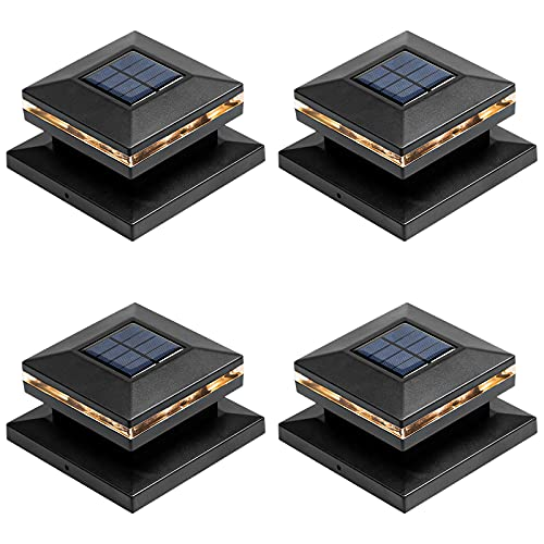 Viewsun 4 Pack Solar Post Lights, Outdoor Fence Post Cap Light Solar Powered Caps for Deck, Patio, Warm White High Brightness SMD LED Lighting, Lamp Fits for 4x4 or 6x6 Wooden Posts