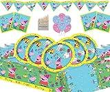 Gemma Nuevo Peppa Pig Party Supplies Juego de cumpleaños para niños para 16 Invitados Vajilla Peppa Deluxe para Fiesta con Globos y pancartas de Peppa