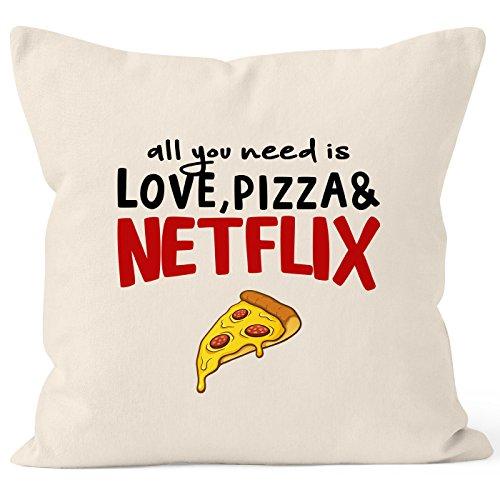 MoonWorks Kissen-Bezug All You Need is Love, Pizza and Netflix Kissen-Hülle Deko-Kissen Baumwolle Natur Unisize