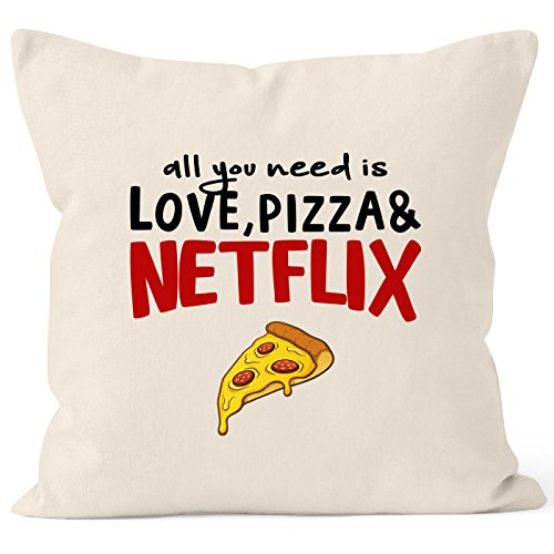 MoonWorks Kissen-Bezug All You Need is Love, Pizza and Netflix Kissen-Hülle Deko-Kissen Baumwolle Natur Unisize