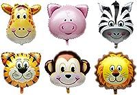 6PCSジャングルアニマル/ファームアニマルバロン子供のバースデーパーティーデコレーション/バースデーパーティー用品-ライオン、タイガー、モンキーパターン、シマウマ、ブタ、キリン