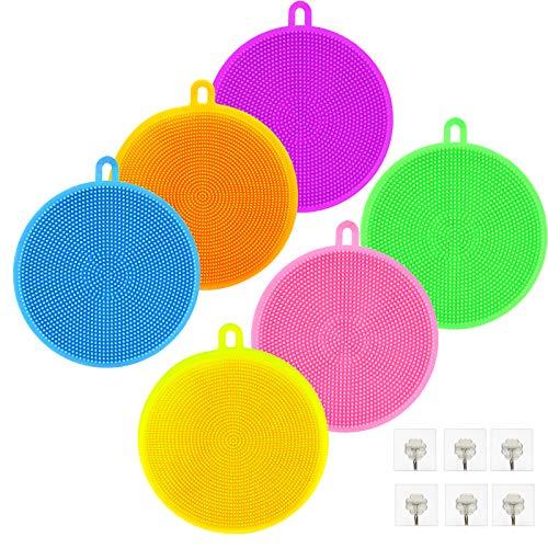 BAMZOK Juego de esponjas de Silicona de 6 Piezas, esponjas de Silicona, depurador de Lavado Multifuncional para ollas de Cocina, Platos, Frutas, Verduras, baño y Lavado de Cara (Multicolor)