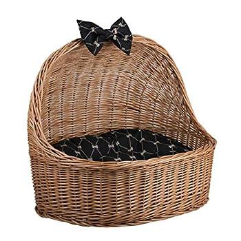 Corbeille,Niche, Panier Ovale en Osier Buff avec Joli Coussin Noirs imprimé Petits os Beiges et Une os décoratif