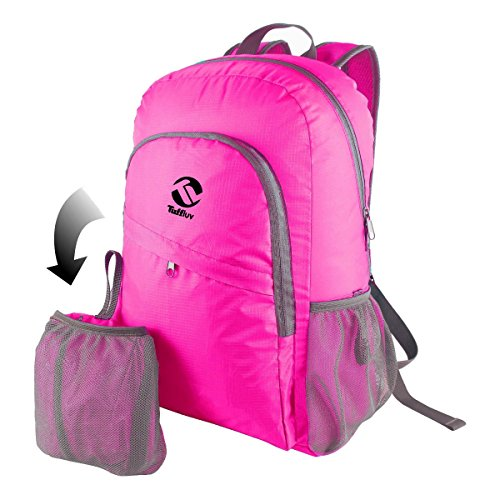 Tuff-Luv Feather Light Water Resistant Foldable Sport & Go Easy-Travel Backpack - Pink