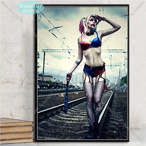 N / A Plakate und Drucke Harley Quinn Joker Squad Art Poster Leinwand Gemälde Wandkunst Bild für Wohnzimmer Home Decor60x90cm