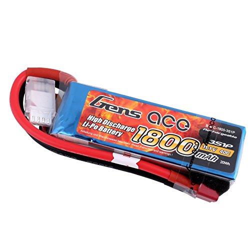 Gens ace Batterie LiPo 3S 1800mAh 11.V 40C Lithium Polymère pour RC Jouets RC Voiture RC Hélicoptères RC Avion Mini-Voiture 1/16 1/18