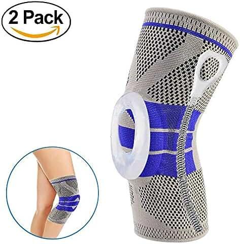 2-Pack Gorich Nylon Silicone Knee Sleeve / Brace & Adjustable Knee Pad Silicone Padded Bracket/Patella Stabilizer