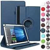 UC-Express NAUCI Asus ZenPad 10 Z301ML Z301MFL Z300M Robuste Universal Tablet Schutzhülle aus Kunstleder Hülle Tasche Standfunktion 360° Drehbar Motiven Cover Case, Farben:Blau