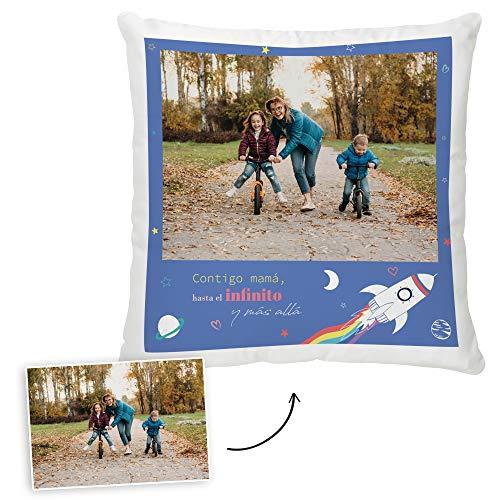 Fotoprix Cojín Personalizado con Foto para Mamá | Regalo Original día de la Madre | Varios diseños Disponibles. (Diseño: Madre 3, 35 x 35 cms)