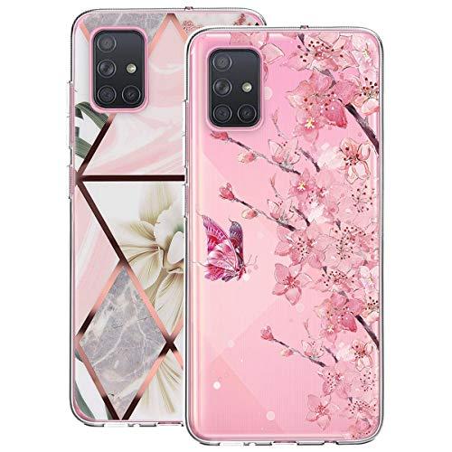 Hülle für Samsung Galaxy A51,Durchsichtig Transparent Schutzhülle für Samsung Galaxy A51 TPU Silikon Stoßfest Kratzfest Handyhülle für Samsung Galaxy A51 Marmor Muster 2Stücke (A)