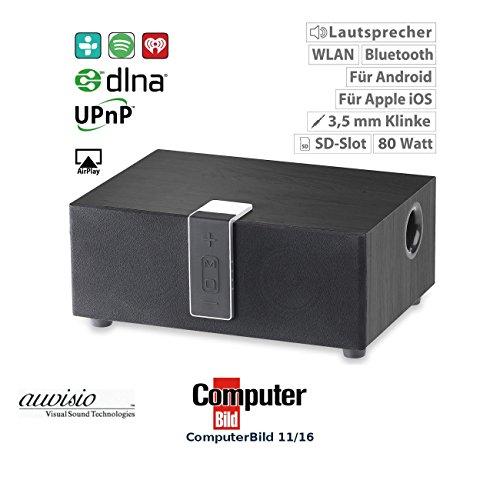 auvisio Stereo Lautsprecher: WLAN-Multiroom-Lautsprecher mit Subwoofer, BT, Airplay, 80 W, schwarz (Bluethooth Lautsprecher)