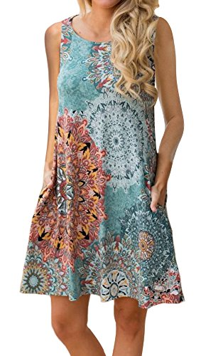 ETCYY Women's Summer Casual Sleeveless Floral Printed Swing Dress Sundress with Pockets,Medium,Flower