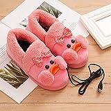USB電気暖房スリッパ暖房ぬいぐるみ靴暖かいスリッパ冬暖かい足,ピンク,39/40