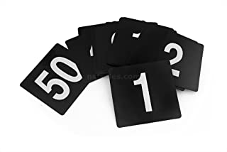 New Star Plastic Double Sided Table Numbers, 1-50, 4-Inch by 4-Inch, White on Black