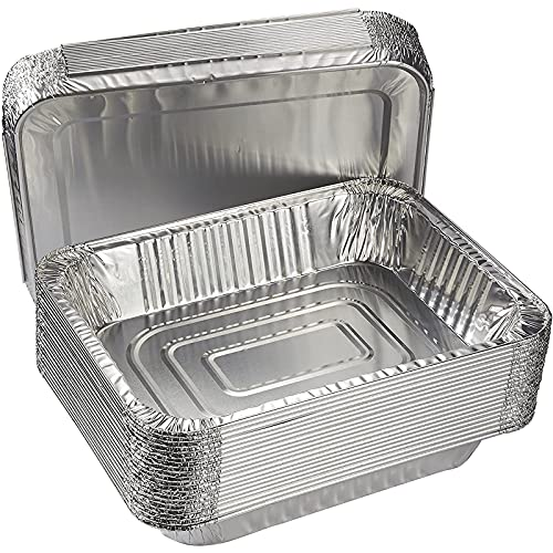 Aluminum Foil Pans with Lids 9x13 (20 Pack) Half Size Disposable Trays for Steam Table, Food, Grills, Baking, BBQ