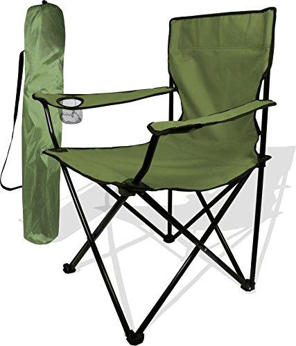 normani Anglersessel, Campingstuhl - klappbar mit Getränkehalter und Tragetasche Farbe Oliv