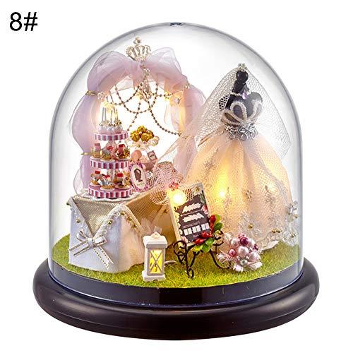 periwinkLuQ DIY Puppenhaus Miniatur Haus Modell Möbeln Spielzeug mit Klarsichtdeckel Geschenk für das Festival 8#