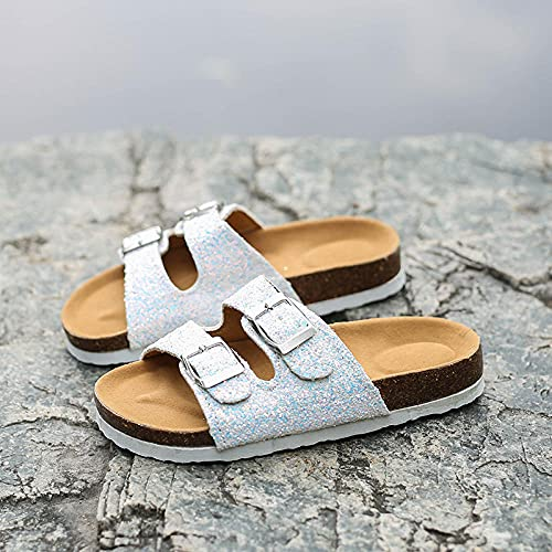 COQUI Cork slippers women,Summer trend flashes parent-child children ladies double buckle word drag soft wood slippers sandals-Sequins_38