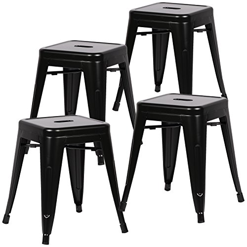 Poly and Bark Trattoria 18 Inch Metal Side Dining Chair and Bar Stool in Black (Set of 4)