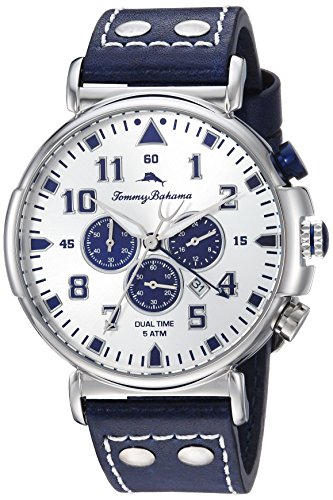 Tommy Bahama Men's Stainless Steel Quartz Watch with Leather Strap, Blue, 21 (Model: TB00001-06)