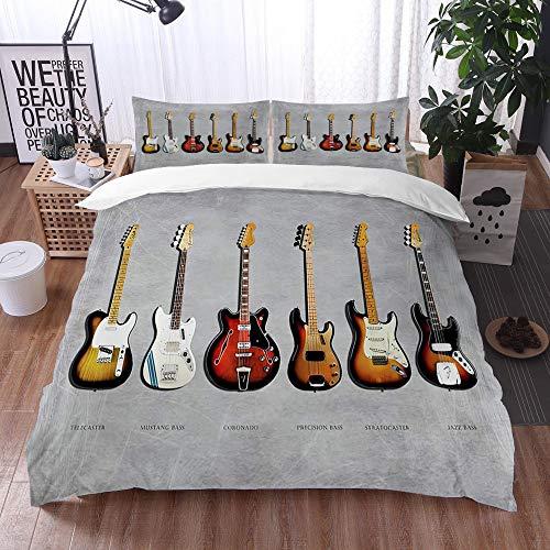 Bedding Juego de Funda de Edredón -Fender Stratocaster Telecaster Bass de precisión Mustang bass Fender Guitarra eléctrica Músi/Microfibra Funda de Nórdico (Cama 220 x 240 cm + Almohada 50X80 cm)
