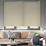 Yoolax Motorized Venetian Blinds Work with Alexa, Light Filtering Sheer Automated Horizontal Blinds Custom Size, Blackout Aluminum Smart Window Shades with Remote Control for Home (Beige and Coffee 2)