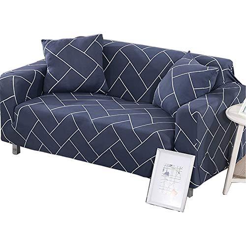 BHAHFL Fundas elásticas para sofá de 1 Pieza - Fundas para sofá con Estampado de poliéster y Spandex - Funda/Protector para Muebles para sofá con Base elástica,A,1Seater