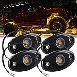 4X Luces de Roca LED Impermeable Amarillo Luz de Pendiente de neón LED para camión SUV ATV Jeep Off-Road Luz del chasis del Coche Ambiente Luz Decorativa