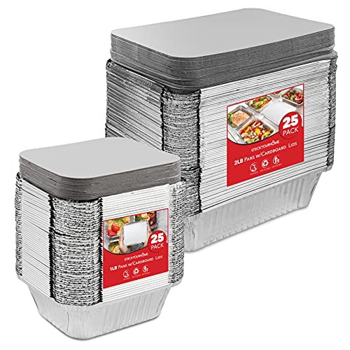 Stock Your Home 1Lb & 2Lb Pans with Lids (50 Pack) - 25 Each Size - Aluminum Foil Pans with Cardboard Lids - Disposable Takeout Trays for Restaurants, Grocery Store Delis, Cafes, Catering, Delivery