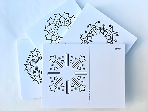 Voter Postcards: Bulk set of 80 patriotic coloring cards (USPS mail compliant, cardstock). Unique mandala designs are easy DIY coloring. Lots of room on blank unused side for messages to voters.