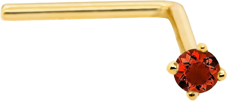 22G Solid 14Kt Gold L-Shape Nose Stud with real Garnet Gemstone,